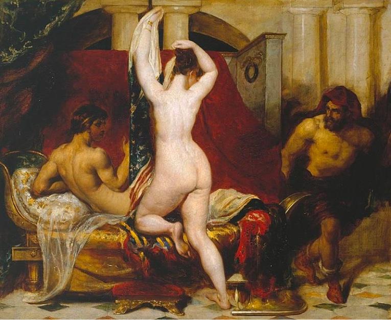 Pintura de William Etty sobre el mito de Candaules.