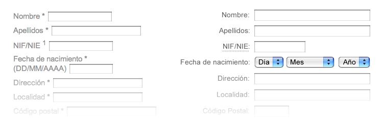 Diseño formularios
