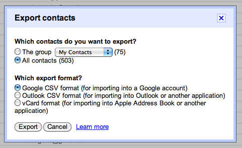 Gmail contacts: exporting options
