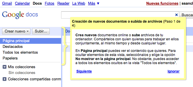 Ayuda contextual en Google Docs